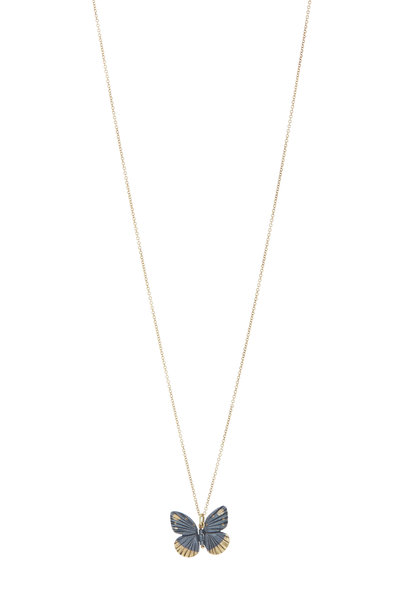 James Banks - Gold Baby Asterope Butterfly Pendant Necklace
