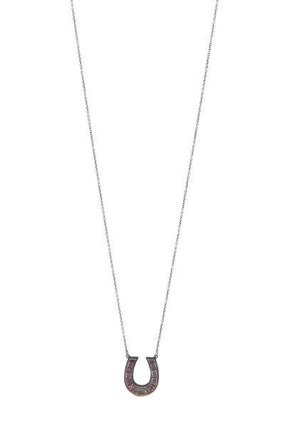 James Banks - Silver Ruby Horseshoe Pendant Necklace
