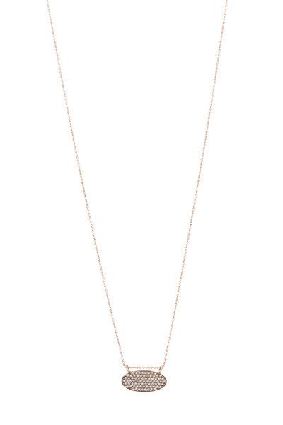 Tulah Jem - Gold Small Oval Diamond Pendant Necklace
