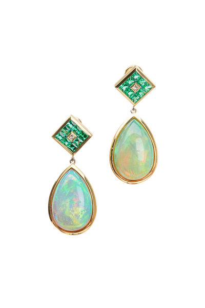 Frank Ancona - Yellow Gold Emerald & Opal Diamond Earrings