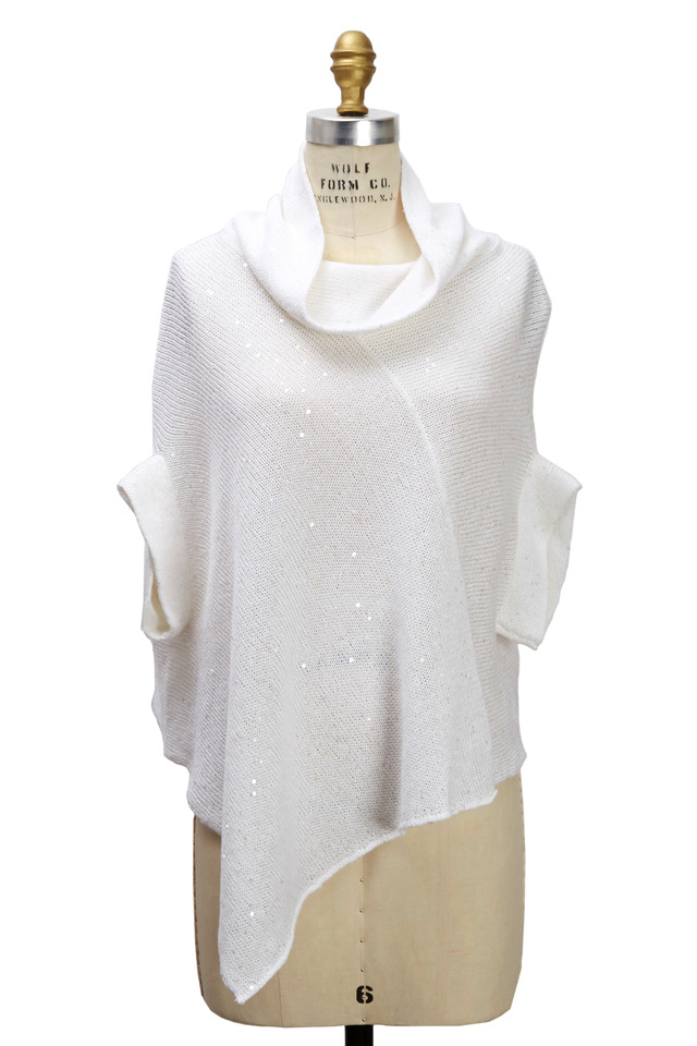White Cotton Pailette Poncho