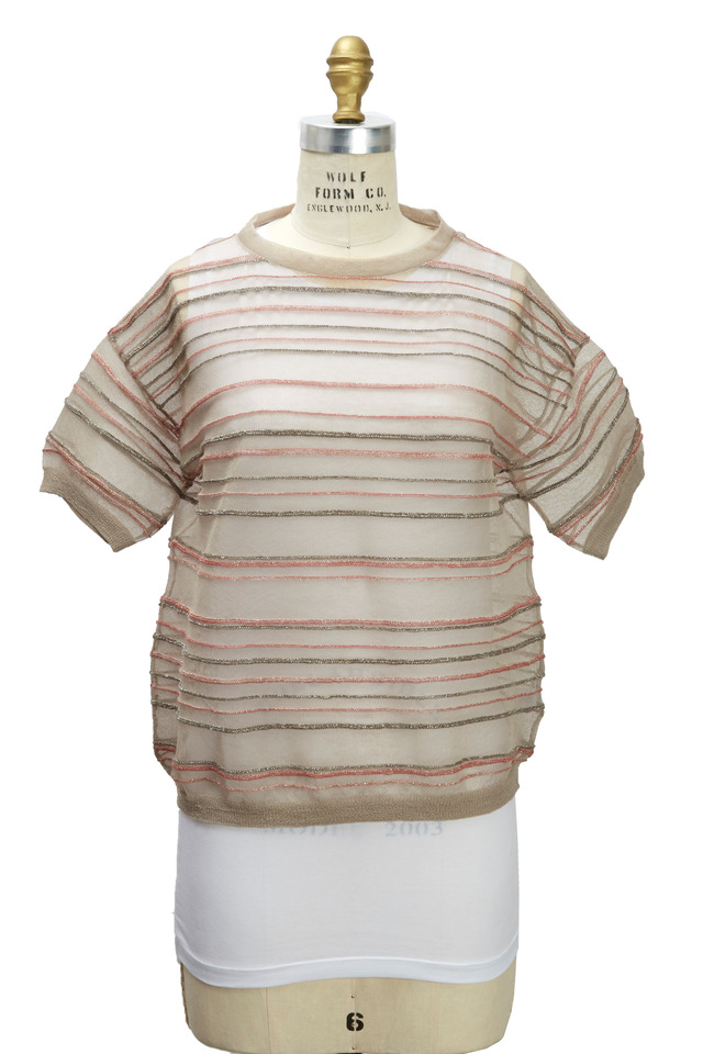 Nutmeg Lurex Pullover With Tank Top