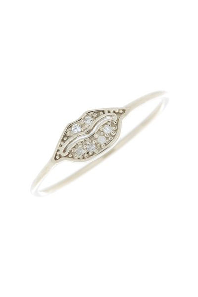Tulah Jem - White Gold White Diamond Tiny Lips Ring