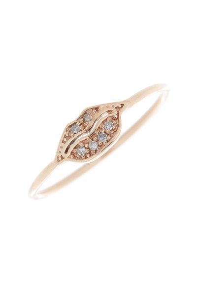 Tulah Jem - 14K Rose Gold Diamond Tiny Lips Ring