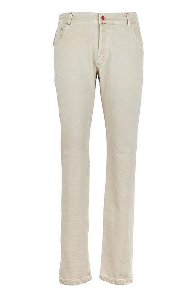 Kiton - Tan Brushed Cotton Twill Jeans