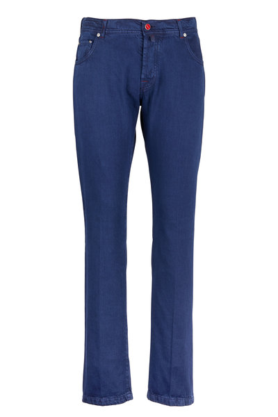 Kiton - Navy Blue Brushed Twill Jeans