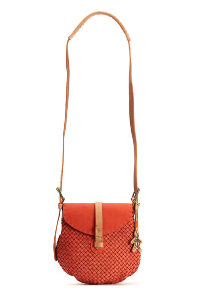 Henry Beguelin - Blanca Intreccio Orange Saddle Crossbody Bag