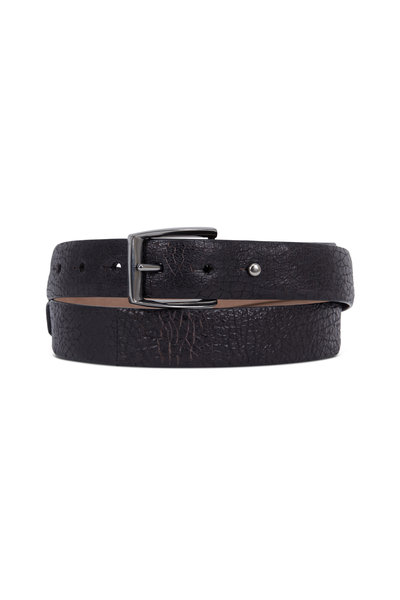 Brunello Cucinelli - Black Embossed Leather Loop Jean Belt