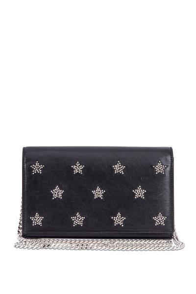Saint Laurent - Black Leather & Studded Stars Chain Wallet