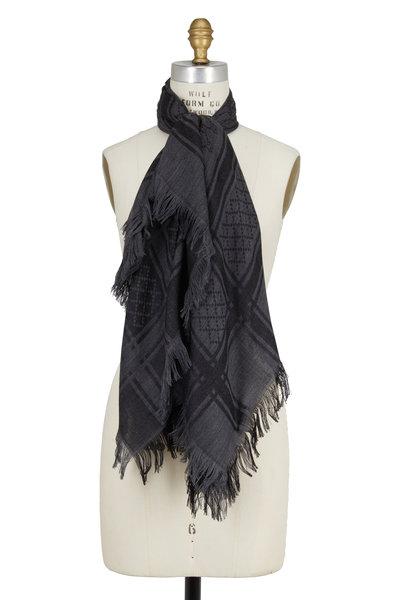 Gucci - Gray GG Jacquard Wool & Silk Scarf