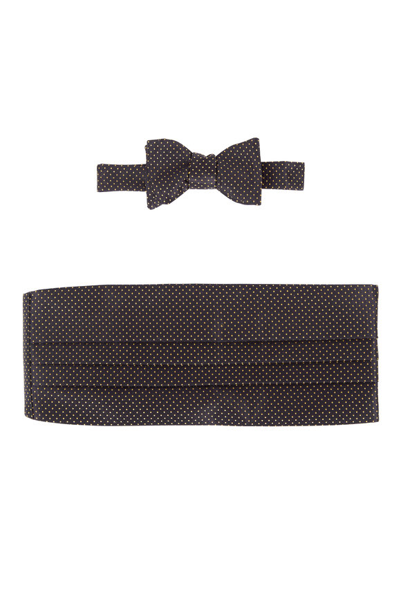 Carrot & Gibbs Black & Gold Dot Silk Pre-Tied Cummerbund Set