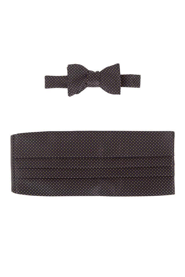 Black & Gold Dot Silk Pre-Tied Cummerbund Set