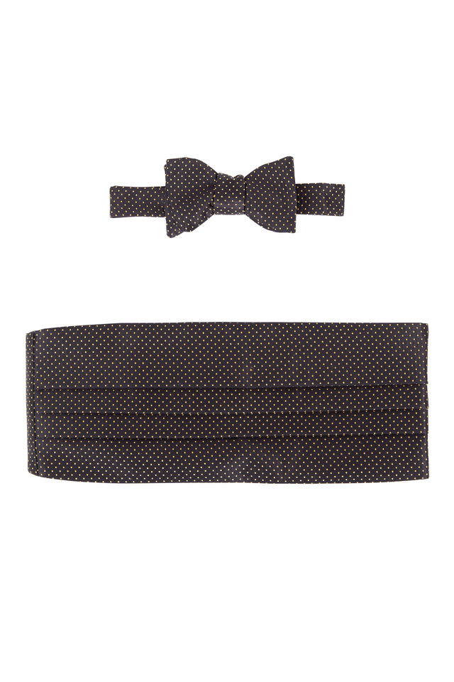 Black & Gold Dot Silk Pre-Tied Cummerbund Set