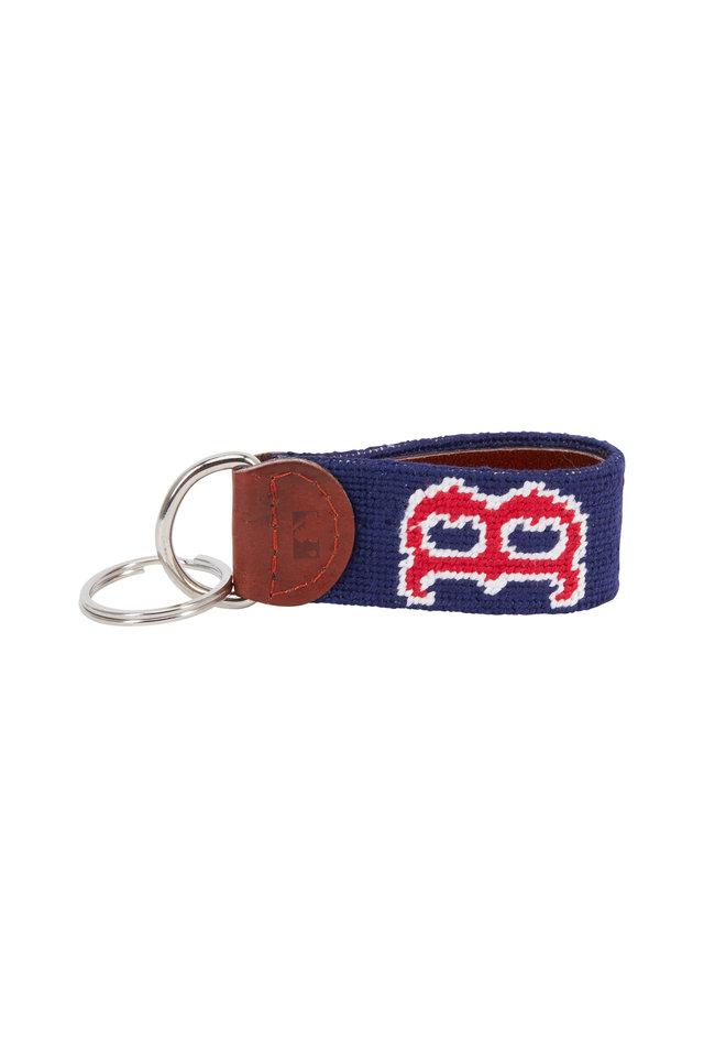 Navy Blue Boston Red Sox Needlepoint Key Fob