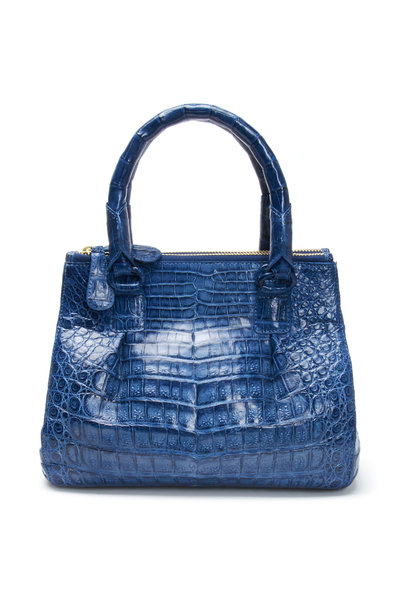 Nancy Gonzalez - Denim Blue Crocodile Small Zip Tote
