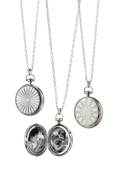 Monica Rich Kosann - Silver Dart Board Guilloche Pocket Watch Locket