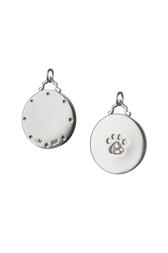 Sterling Silver White Sapphire Paw Print Disc