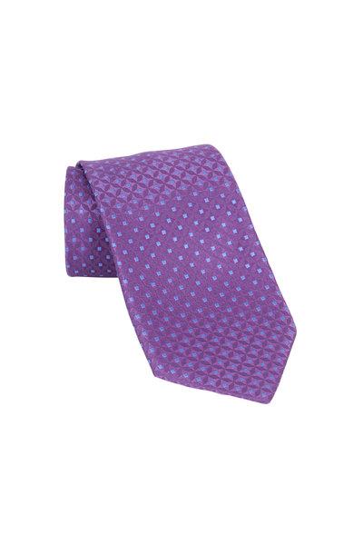Charvet - Purple Geometric Silk Necktie