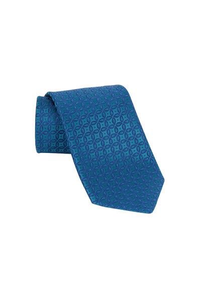 Charvet - Jade Green & Blue Geometric Silk Necktie