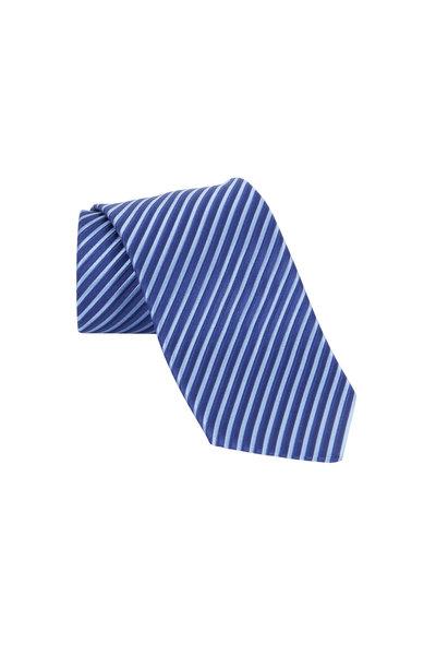 Charvet - Navy Blue Striped Silk Necktie