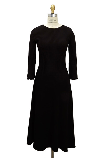 The Row - Nia Black Viscose & Polyester Dress