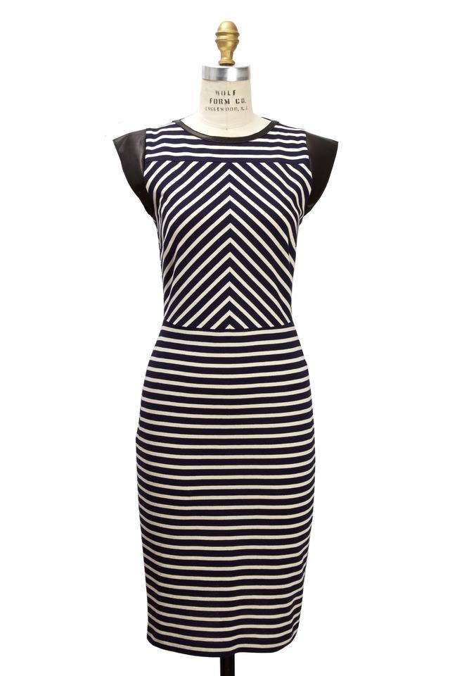 Navy Blue & White Jersey Dress