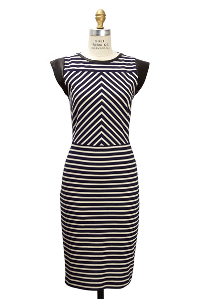 Derek Lam - Navy Blue & White Jersey Dress