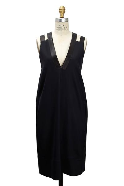 Derek Lam - Midnight Wool & Leather Dress