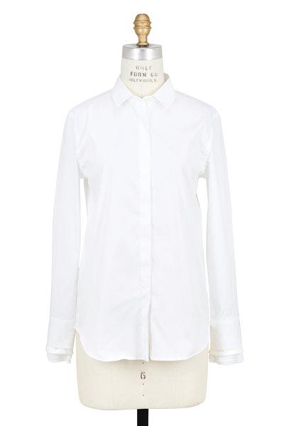 Brunello Cucinelli - White Poplin Long Sleeve Ruffled Cuff Blouse