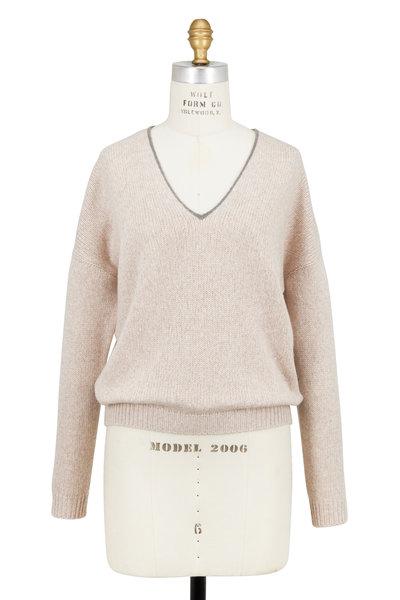 Brunello Cucinelli - Wheat Cashmere Monili V-Neck Sweater