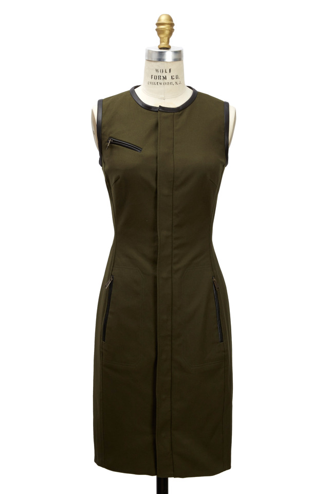 Beckett Olive Green Cotton & Leather Dress