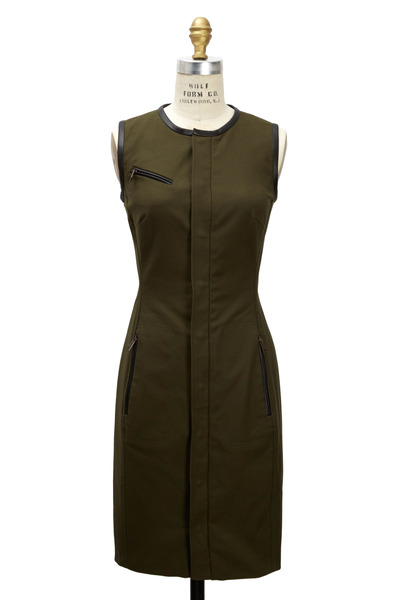 Ralph Lauren - Beckett Olive Green Cotton & Leather Dress