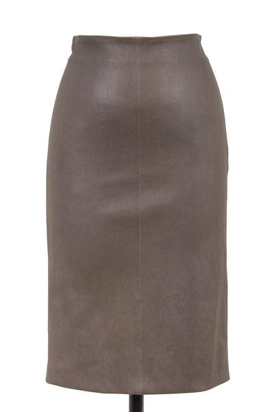 Brunello Cucinelli - Graphite Leather Pencil Skirt