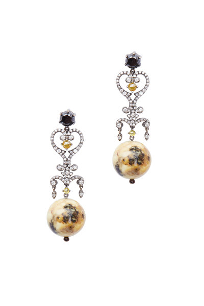 Bochic - Amber & Diamond Drop Earring