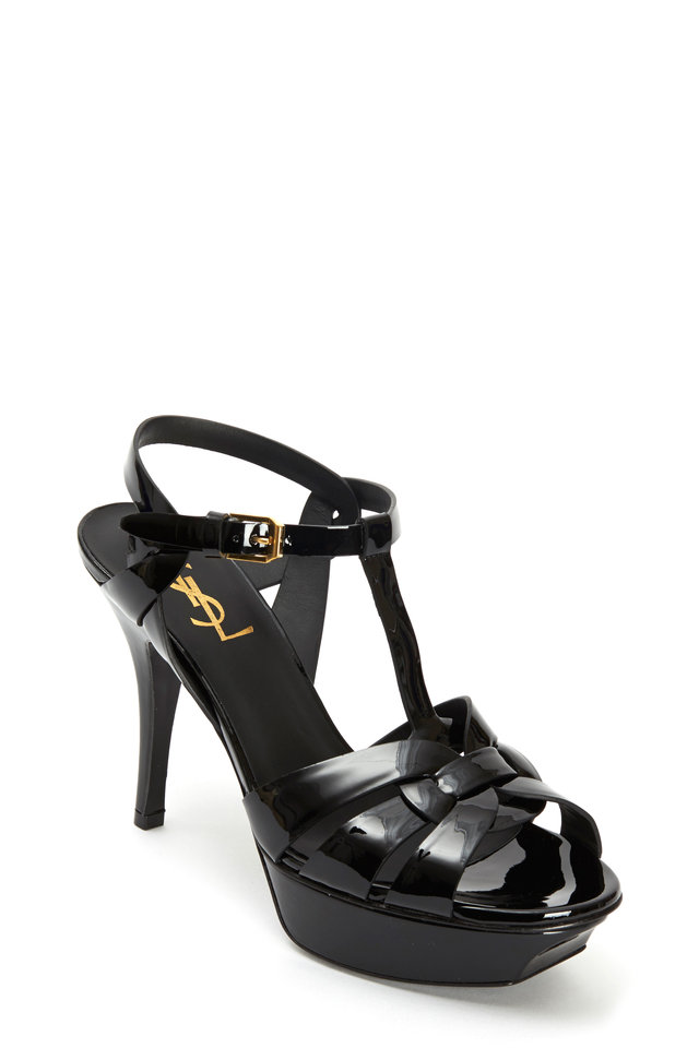 Tribute Black Patent Leather Sandal, 75mm
