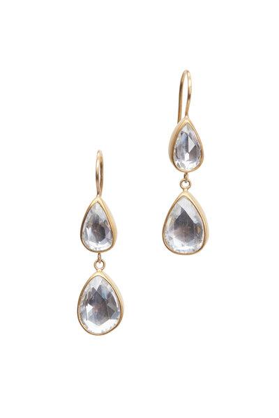 Caroline Ellen - 22K Yellow Gold Zircon Double Drop Earrings