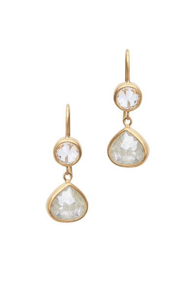 Caroline Ellen - 22K Yellow Gold Gray Diamond Drop Earrings