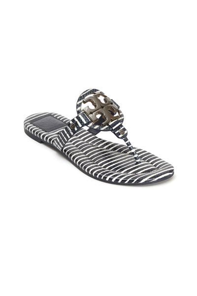 Tory Burch - Miller Blue & White Logo Thong Sandals