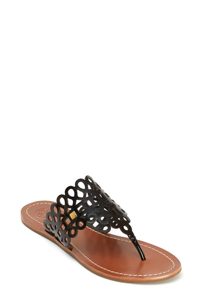 Tory Burch - Davy Black Patent Leather Cutout Thong Sandal