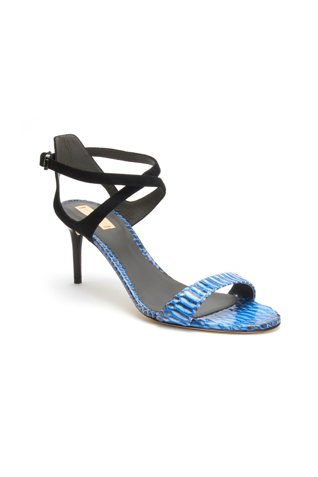 Ankle Harness Blue Snakeskin Sandals, 70mm