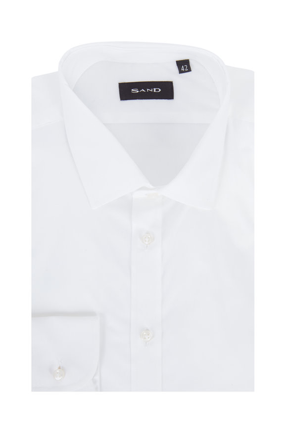 Sand Solid White Stretch Modern Fit Sport Shirt