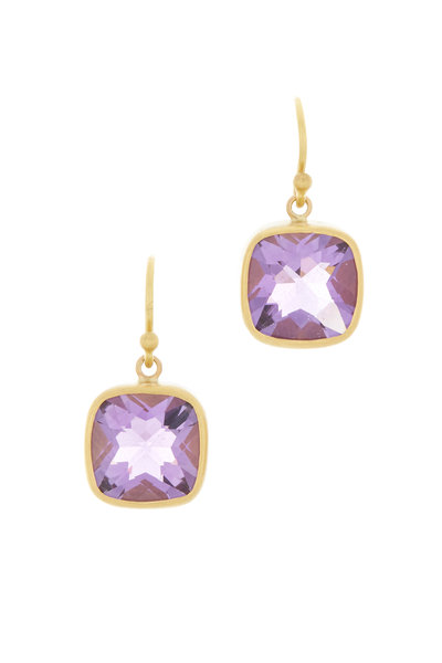 Caroline Ellen - Yellow Gold Amethyst Drop Earrings