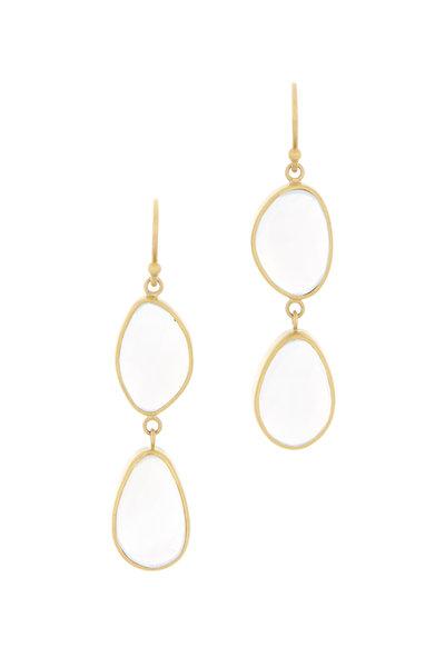 Caroline Ellen - Yellow Gold Chalcedony Double Drop Earrings