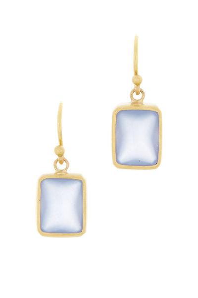 Caroline Ellen - Yellow Gold Rectangle Chalcedony Drop Earrings