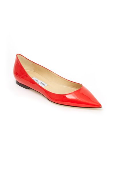 Jimmy Choo - Alina Orange Patent Leather Pointed Flats
