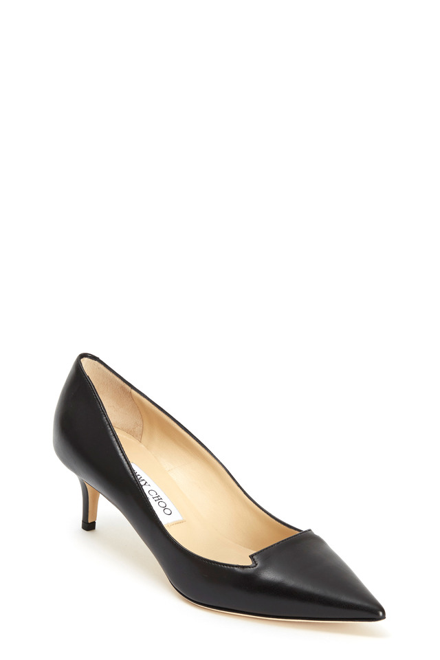 Allure Black Leather Pump, 50mm