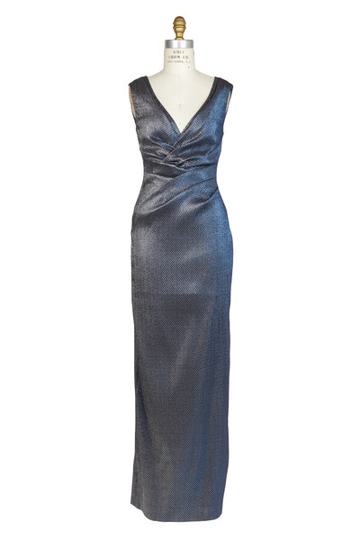 Talbot Runhof - Platinum Frosted Ruched Sleeveless Gown