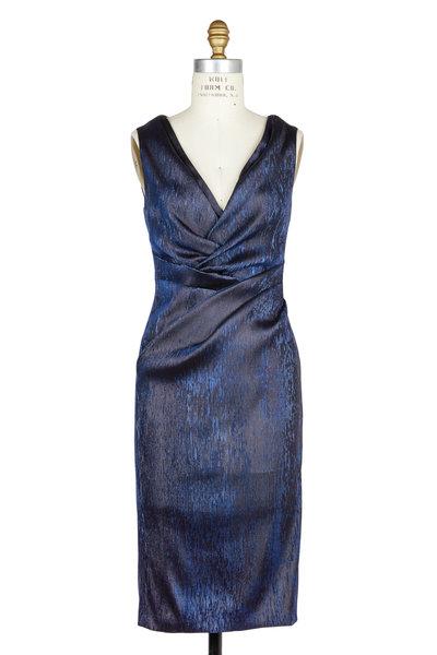 Talbot Runhof - Gobelina Navy Blue Iridescent Cocktail Dress