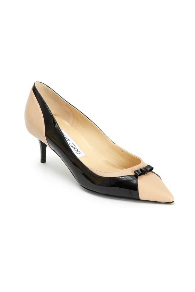 Iguana Black & Natural Patent Leather Bow Pumps