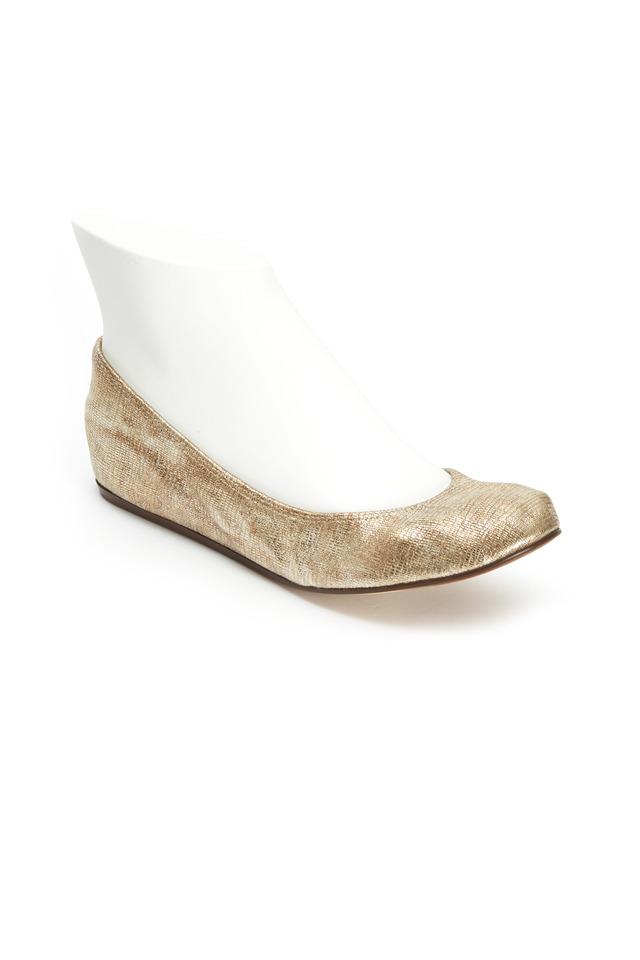 Classic Platinum Laminated Lambskin Ballet Flats
